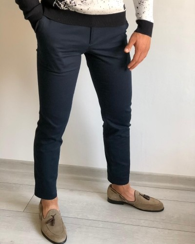 Navy Blue Slim Fit Pants by Gentwith.com with Free Shipping