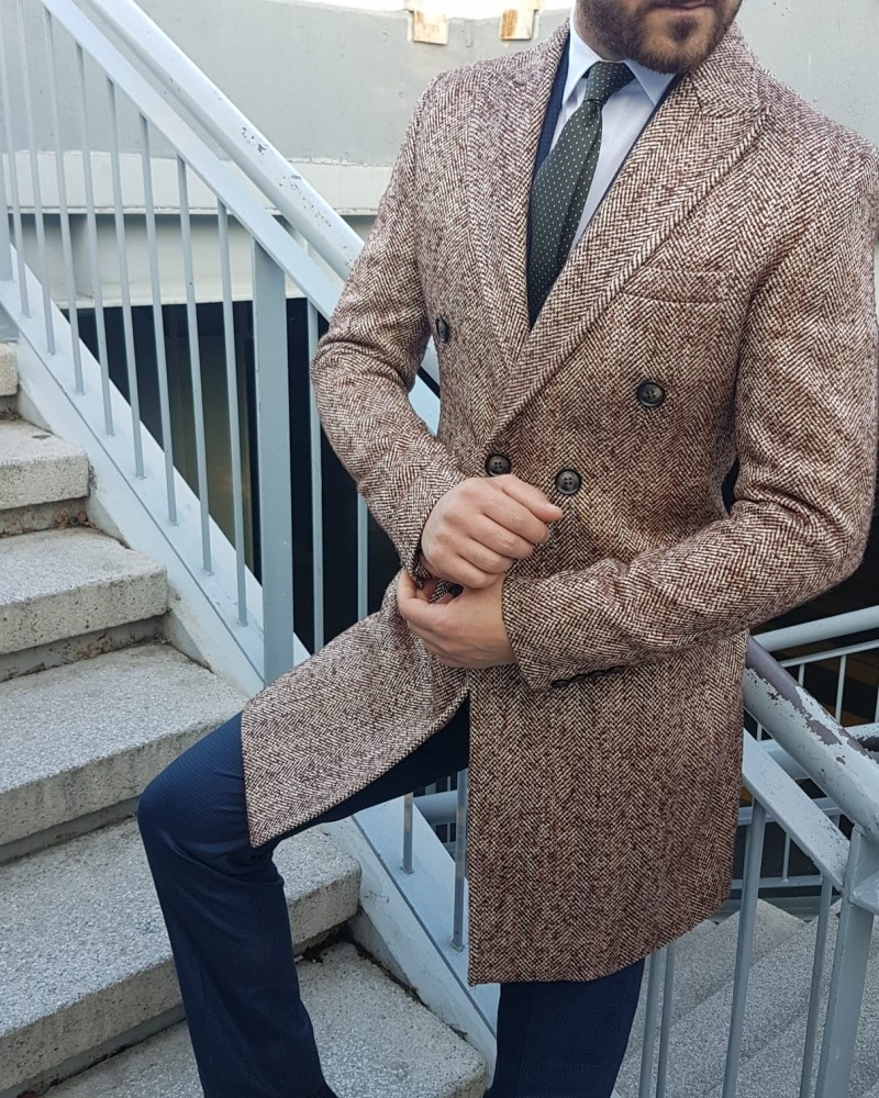 Beige Double Breasted Coat by Gentwith.com with Free Shipping