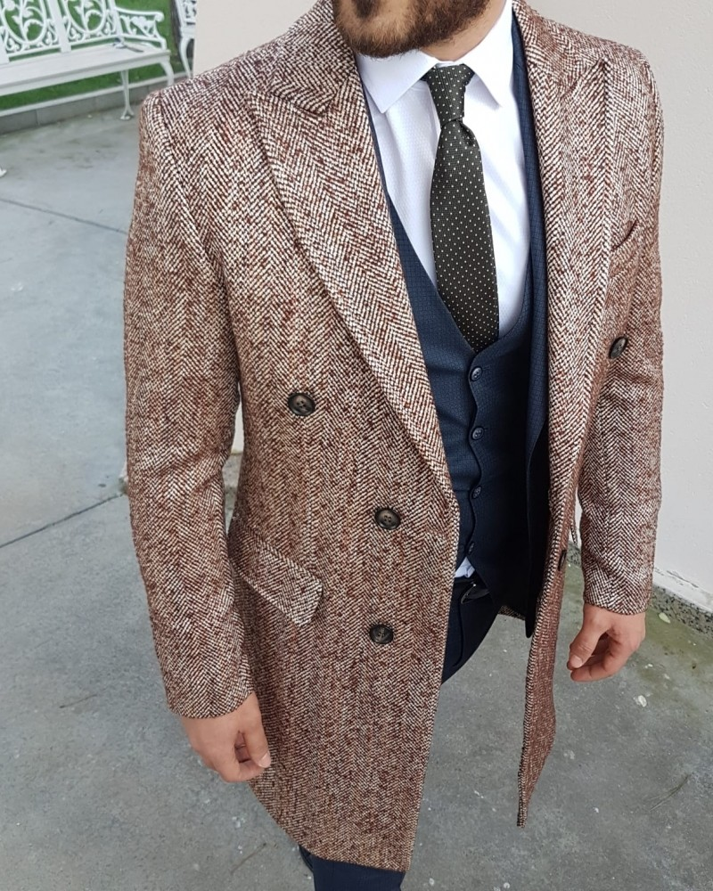 Beige Slim Fit Double Breasted Coat by Gentwith.com with Free Shipping
