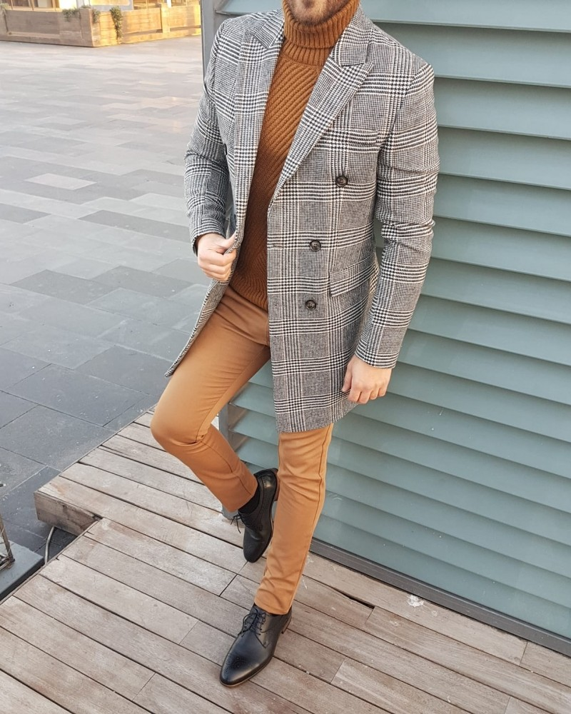 Gray Slim Fit Double Breasted Coat by Gentwith.com with Free Shipping