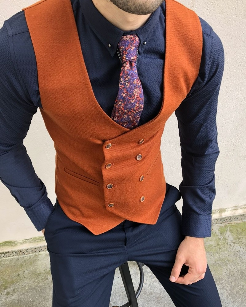 Tile Double Breasted Vest by Gentwith.com with Free Shipping