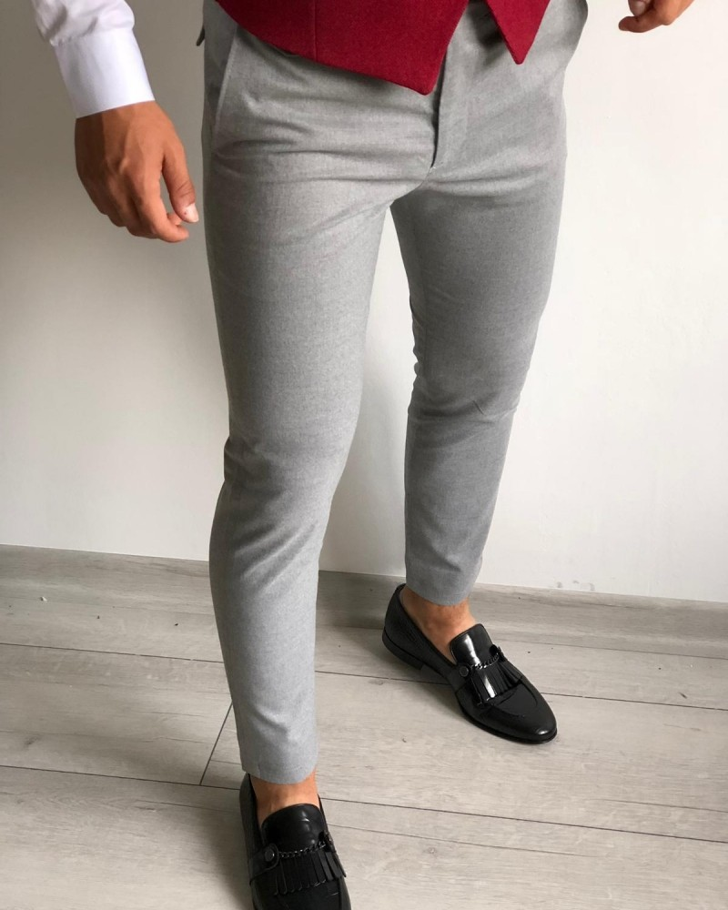 Gray Slim Fit Pants by Gentwith.com with Free Shipping