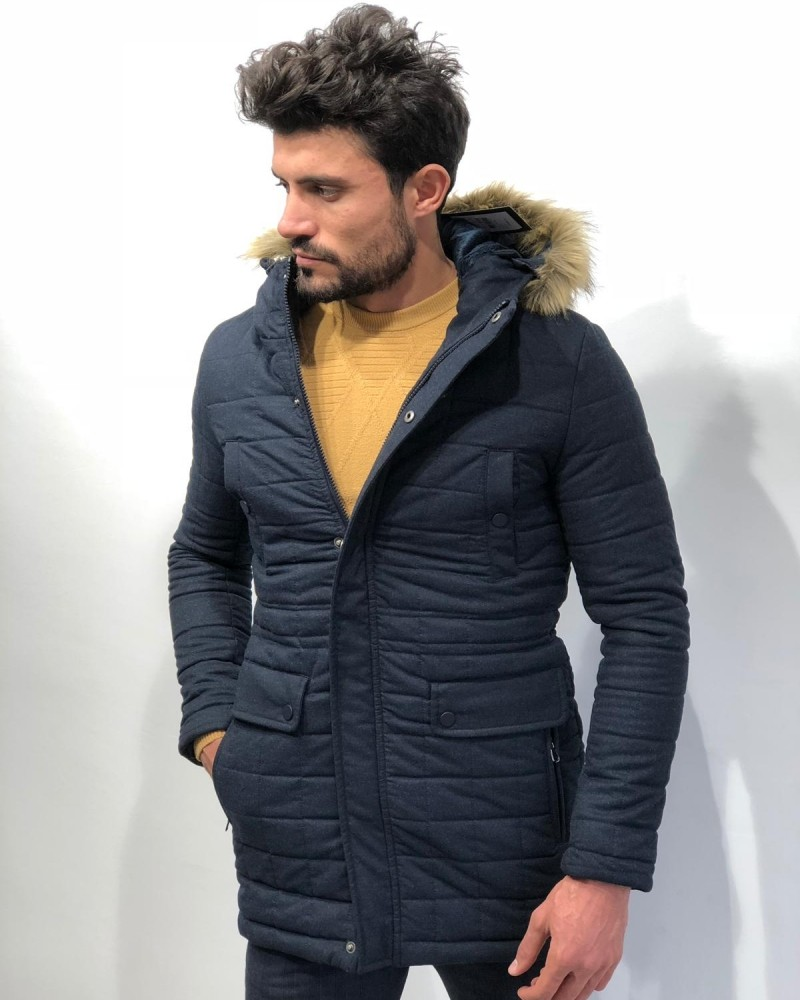 Navy Blue Slim Fit Coat by Gentwith.com with Free Shipping