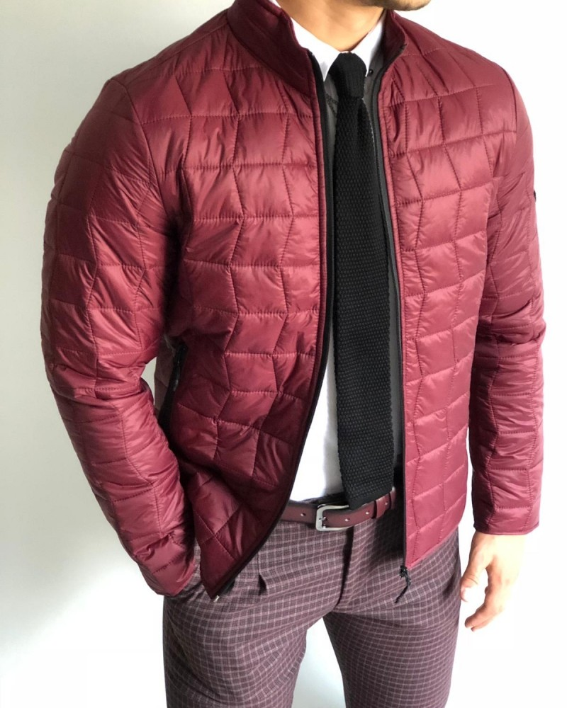 Claret Red Slim Fit Inflatable Jacket by Gentwith.com with Free Shipping