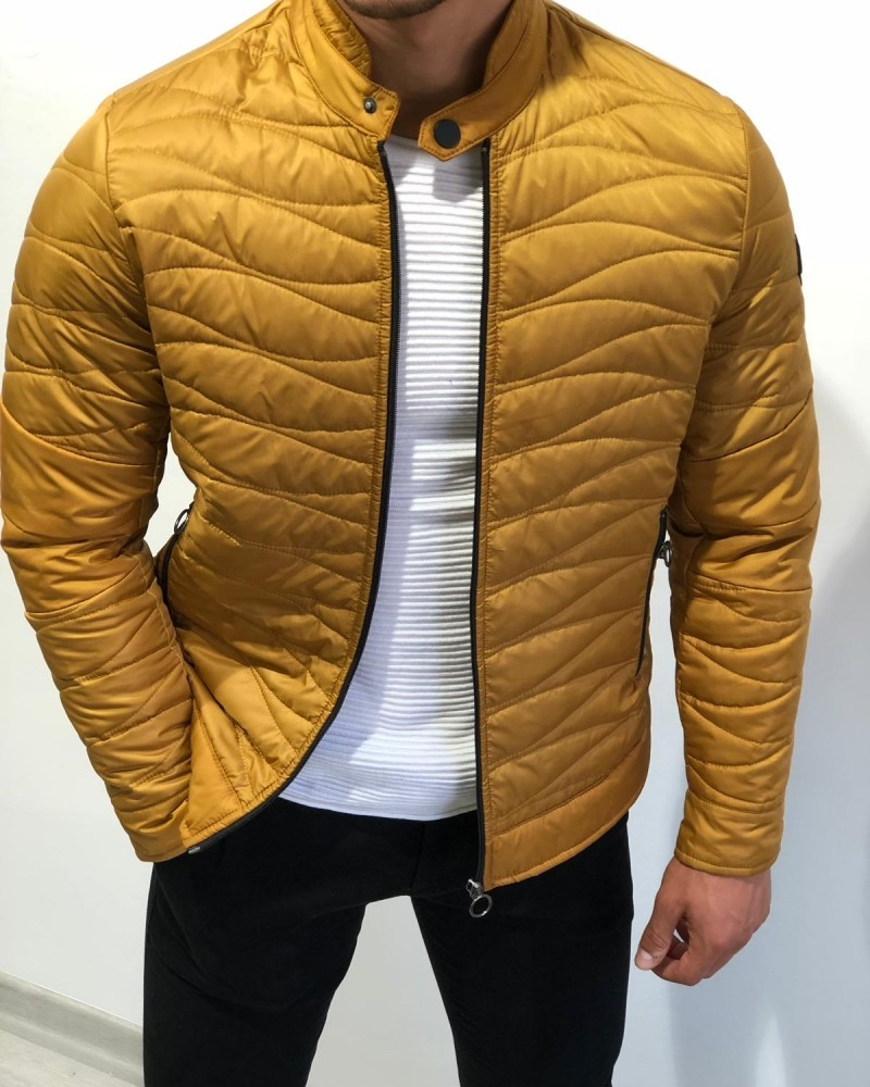Yellow Slim Fit Inflatable Jacket by Gentwith.com with Free Shipping