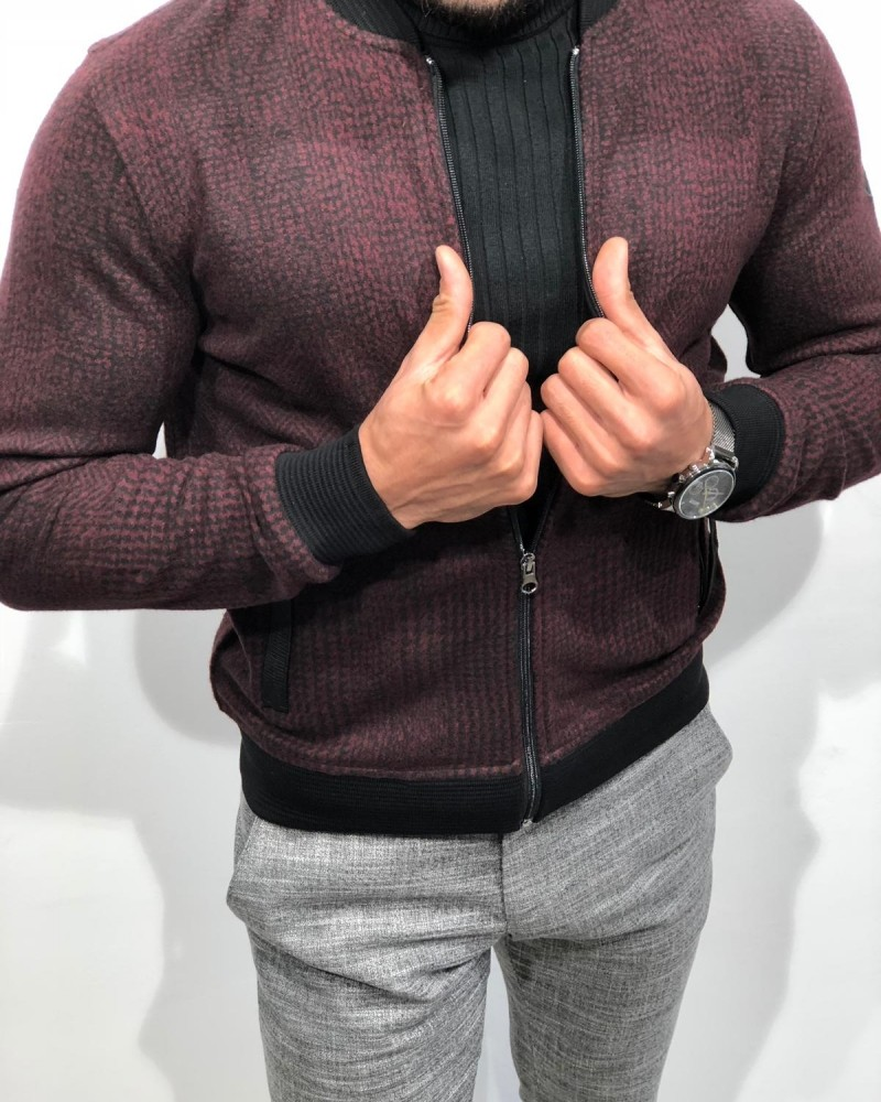 Claret Red Slim Fit Jacket by Gentwith.com with Free Shipping
