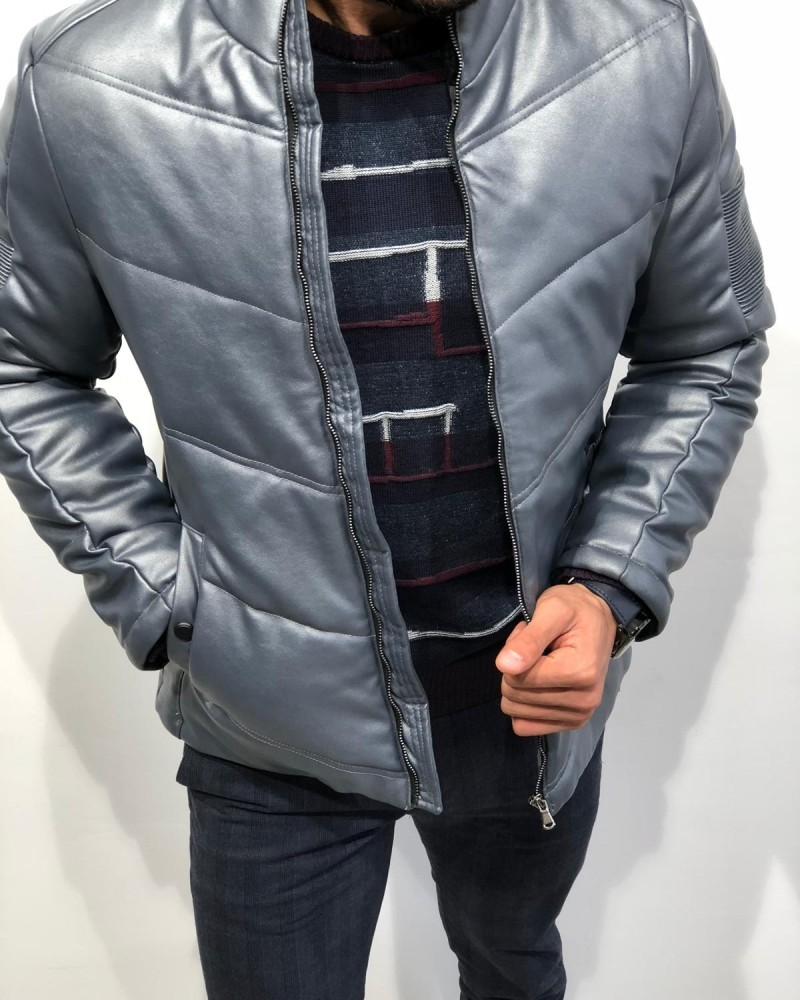 Gray Slim Fit Leather Coat by Gentwith.com with Free Shipping