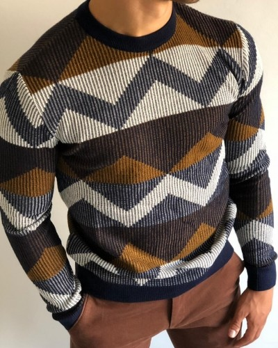 Navy Blue Patterned Sweater by Gentwith.com with Free Shipping