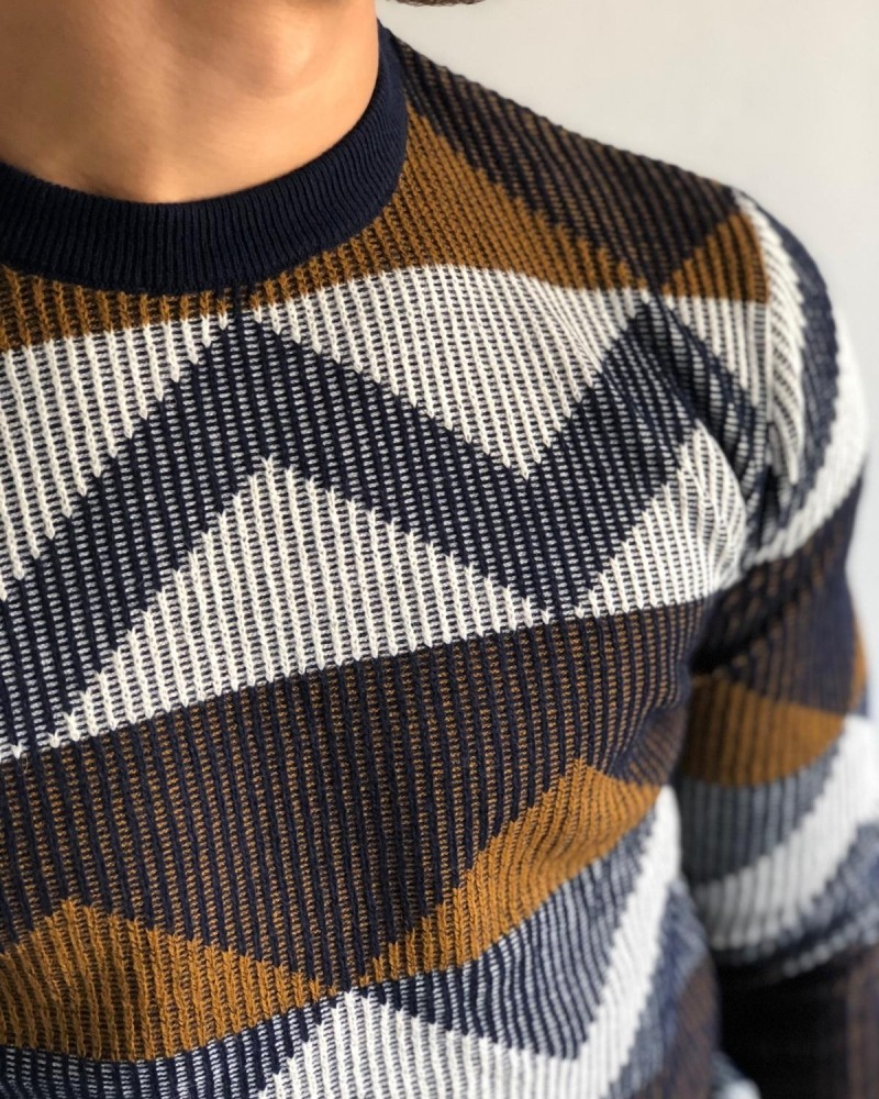 Navy Blue Men's Sweater by Gentwith.com with Free Shipping