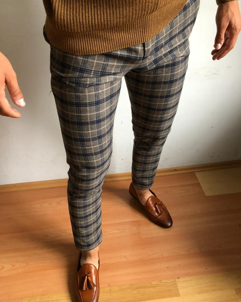 Camel Slim Fit Pants by Gentwith.com with Free Shipping