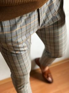 Gray Men's Plaid Pants by Gentwith.com with Free Shipping