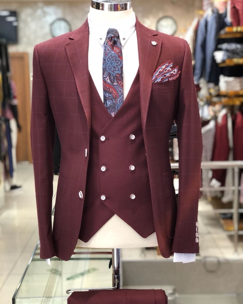 Bordeaux Men's Plaid Suit by Gentwith.com with Free Shipping