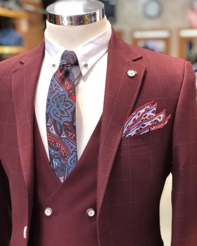 Bordeaux Plaid Suit by Gentwith.com with Free Shipping