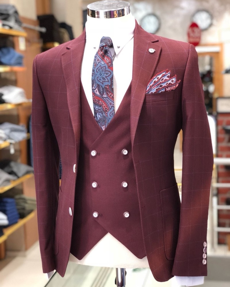 Bordeaux Slim Fit Suit by Gentwith.com with Free Shipping