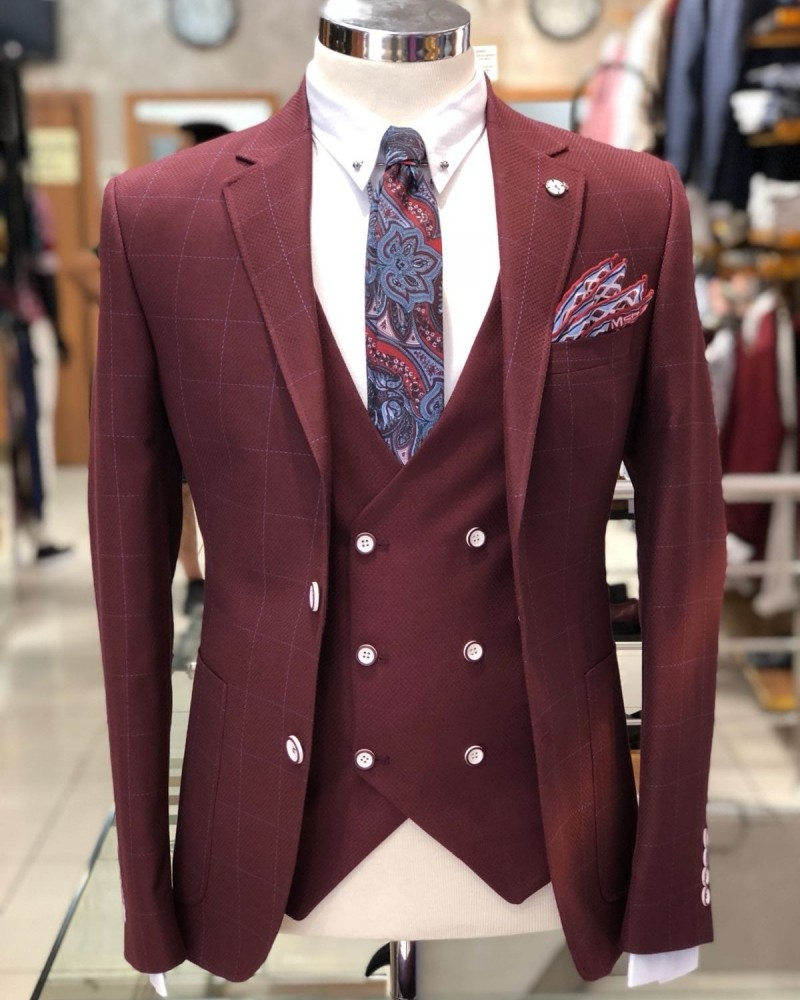 Bordeaux Slim Fit Plaid Suit by Gentwith.com with Free Shipping