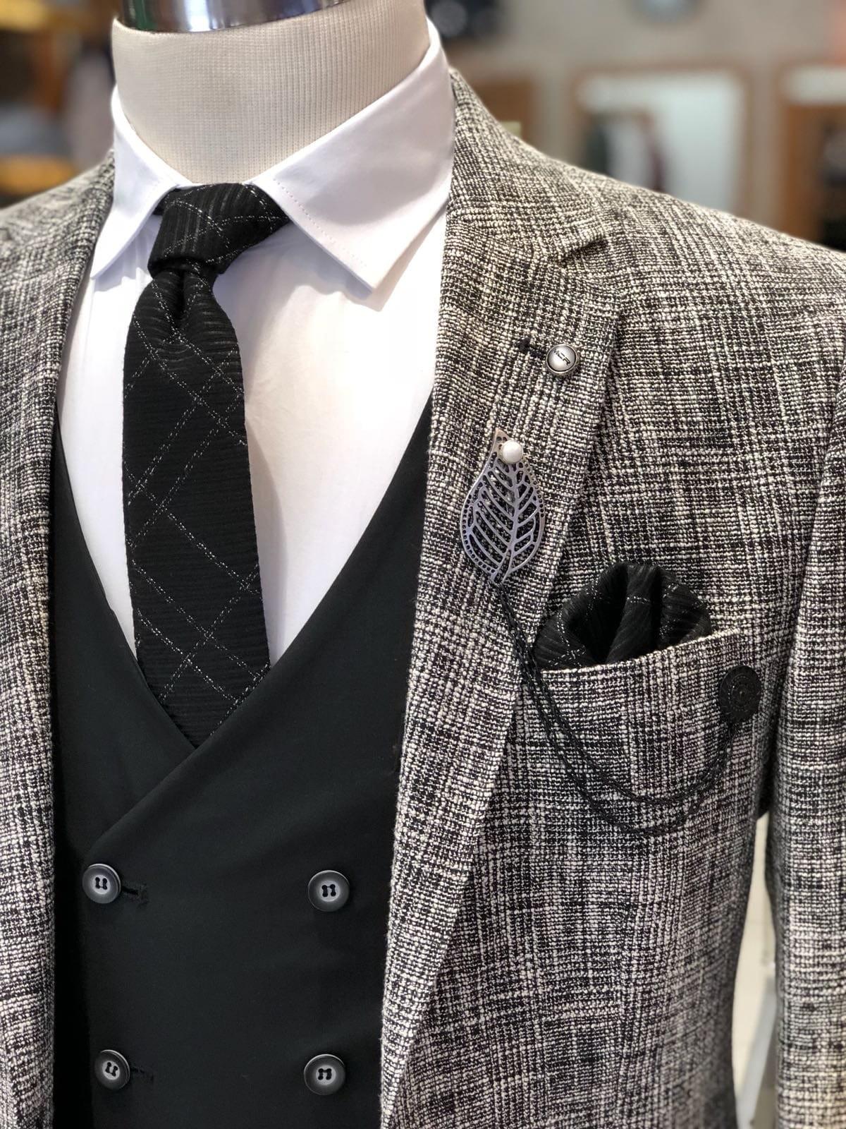 Elmer Plaid Suit Vest \u2013 Black