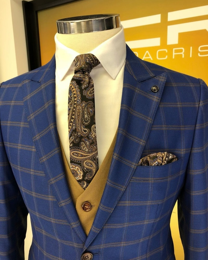 Sax Slim Fit Plaid Suit by Gentwith.com with Free Shipping