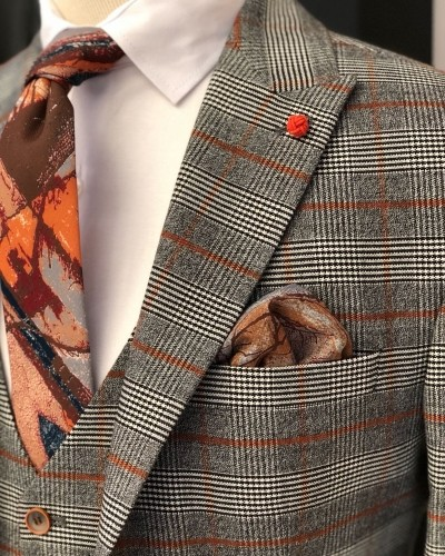 Gray Men's Plaid Suit by Gentwith.com with Free Shipping