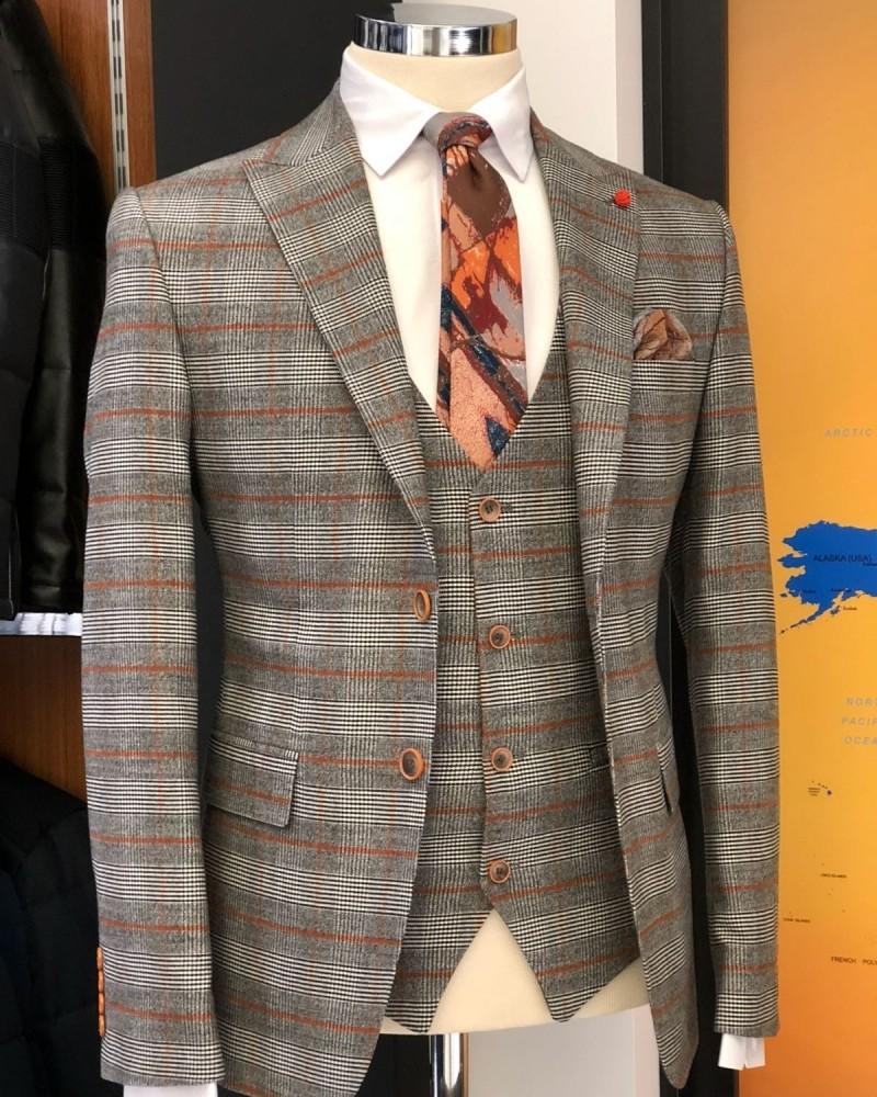 Gray Plaid Suit by Gentwith.com with Free Shipping