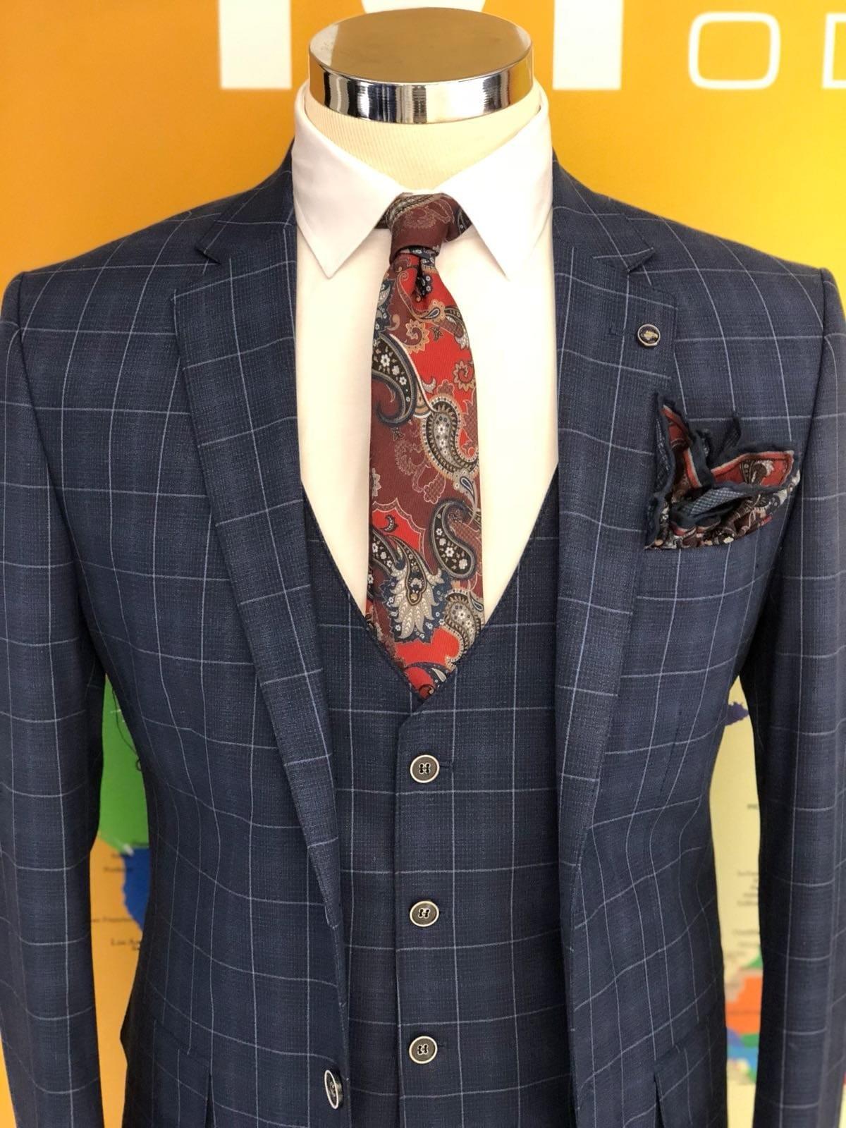 Regular Fit Plaid Navy Blue Suit