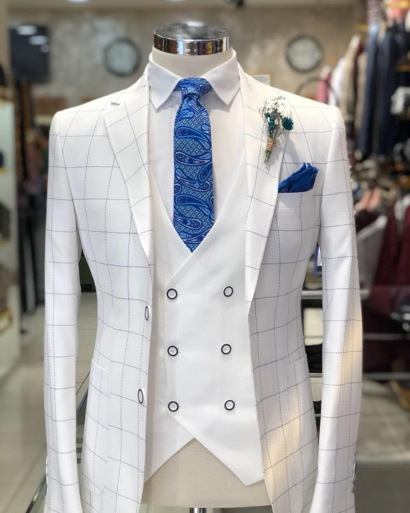 White Plaid Suit by Gentwith.com with Free Shipping