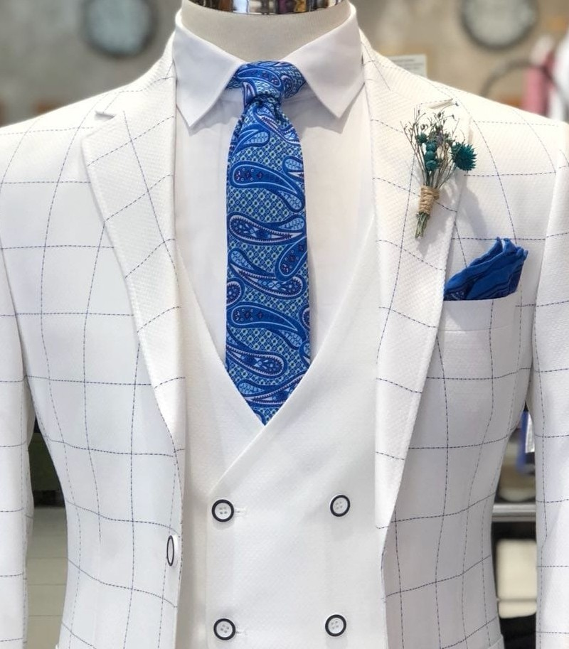 White Slim Fit Plaid Suit by Gentwith.com with Free Shipping