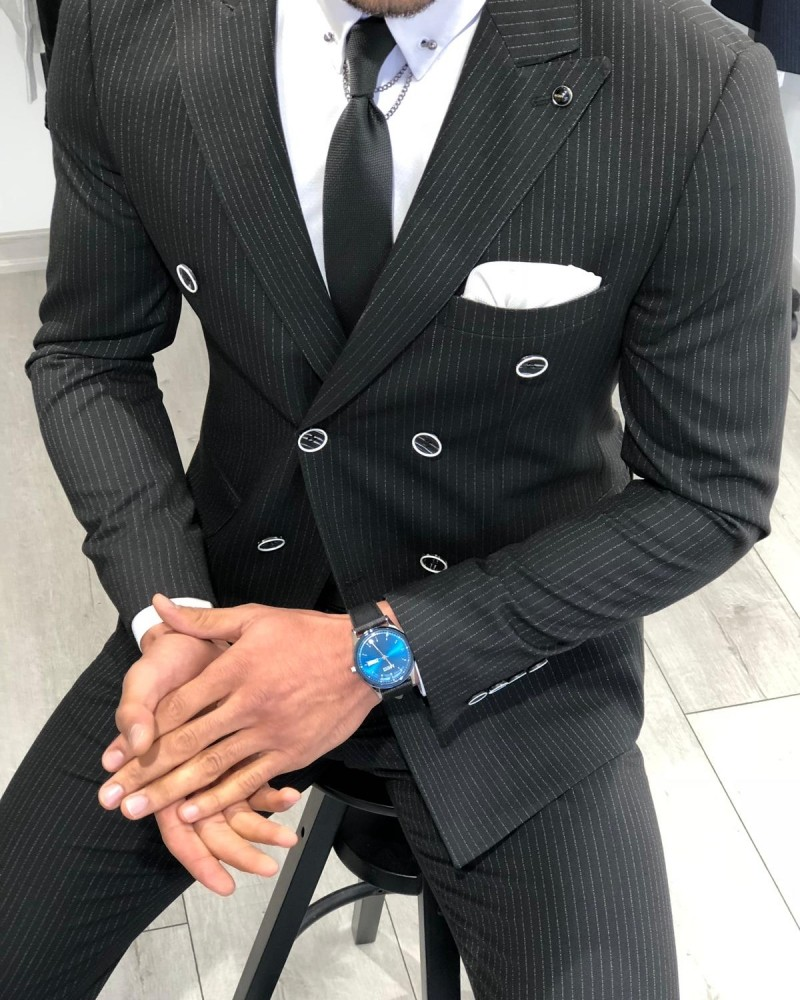 Black Slim Fit Striped Double Breasted Suit by Gentwith.com with Free Shipping