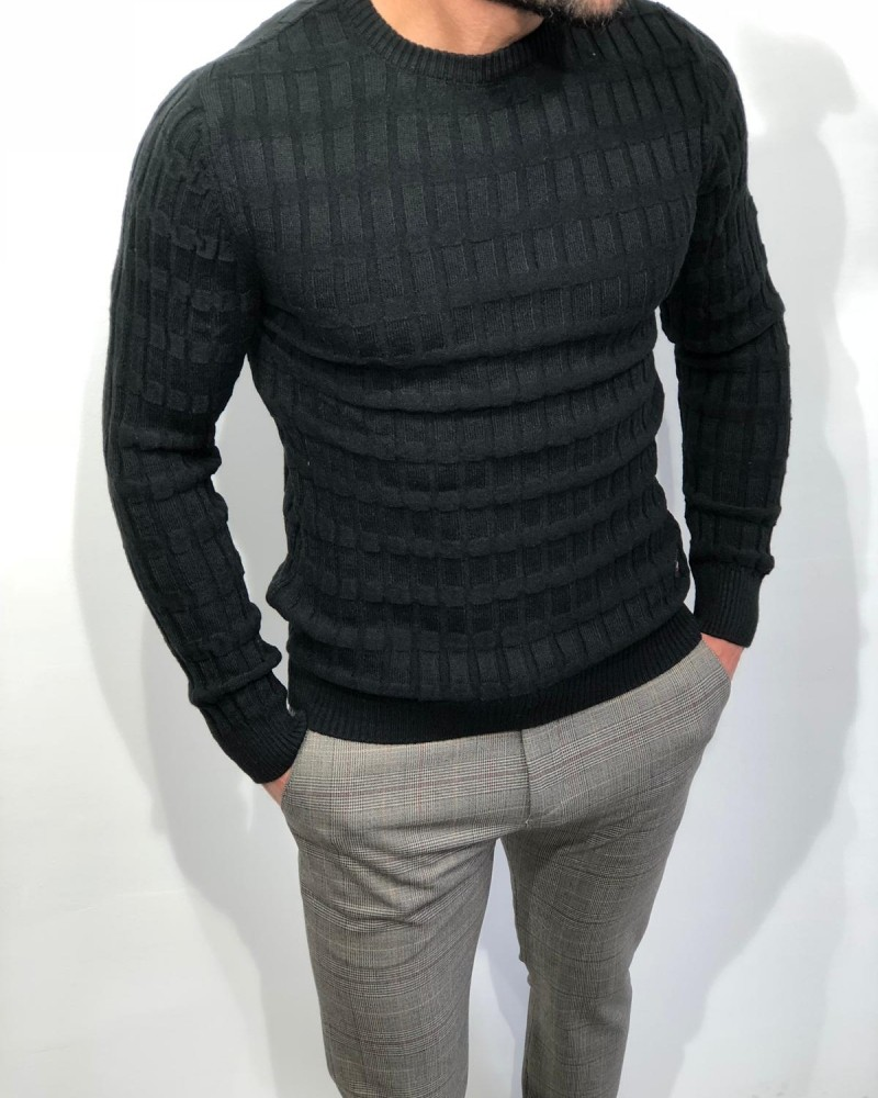 Black Slim Fit Sweater by Gentwith.com with Free Shipping