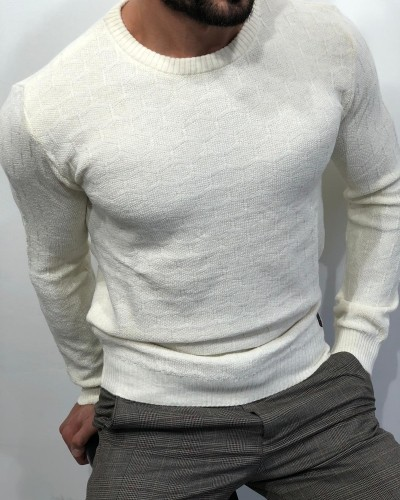 Ecru Slim Fit Sweater by Gentwith.com with Free Shipping