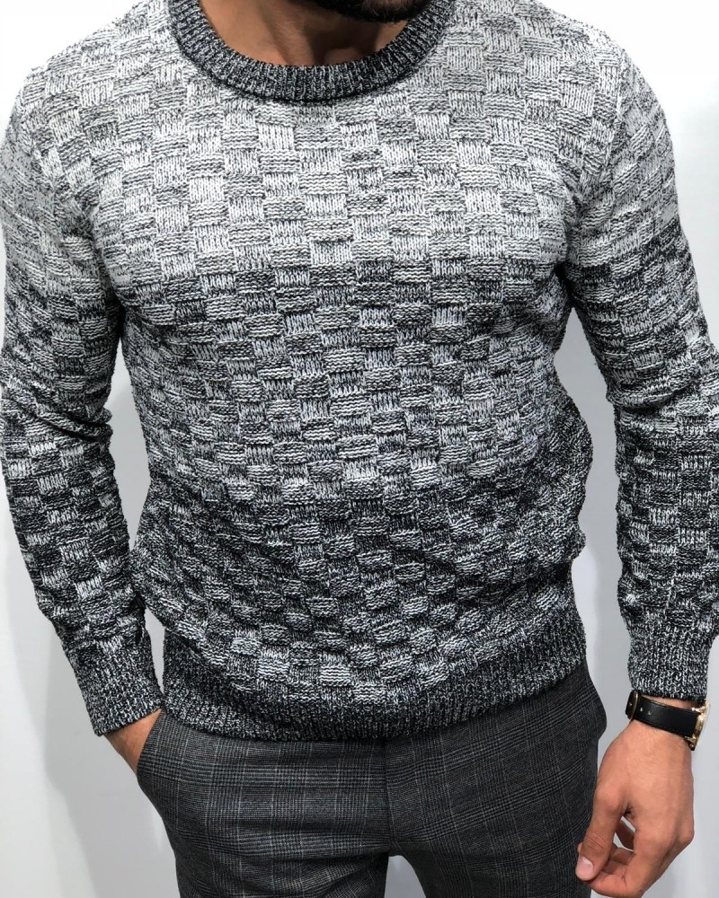 Gray Slim Fit Sweater by Gentwith.com with Free Shipping