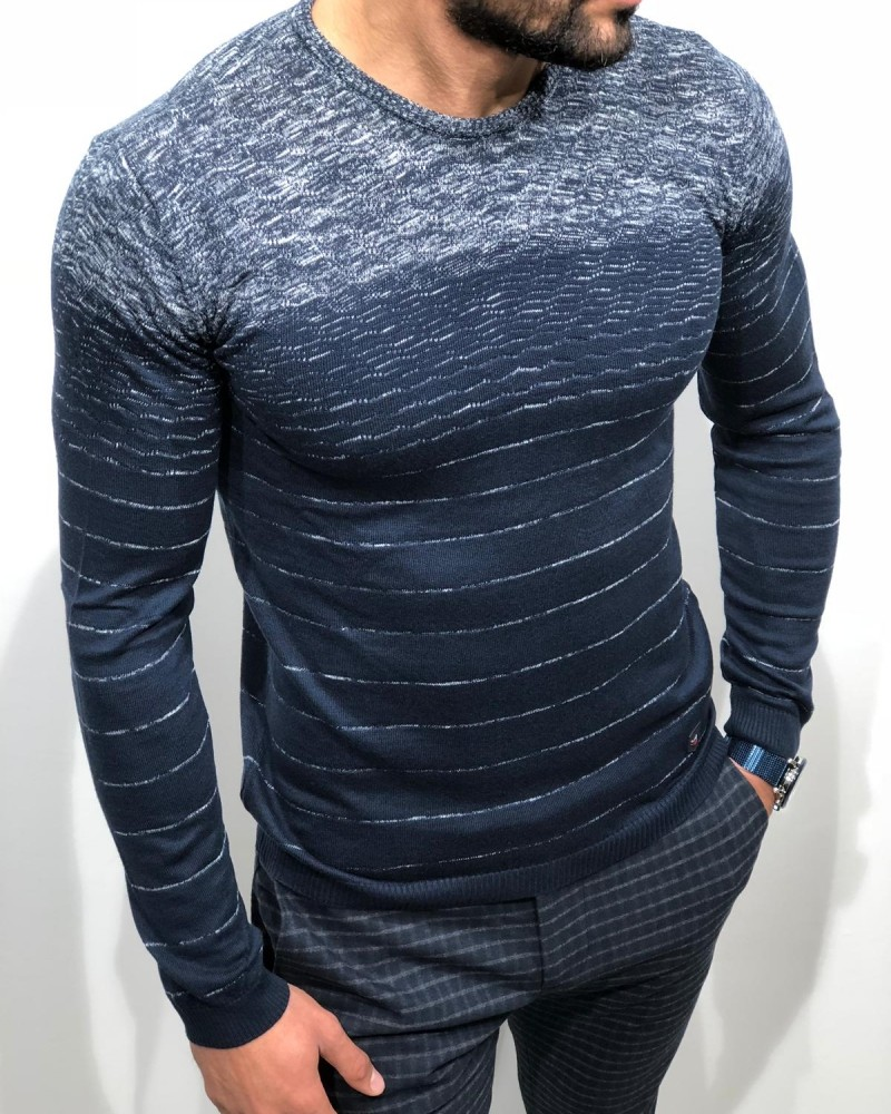 Navy Blue Slim Fit Sweater by Gentwith.com with Free Shipping