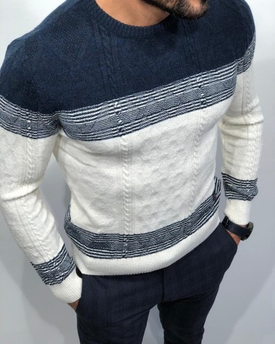 White Slim Fit Sweater by Gentwith.com with Free Shipping