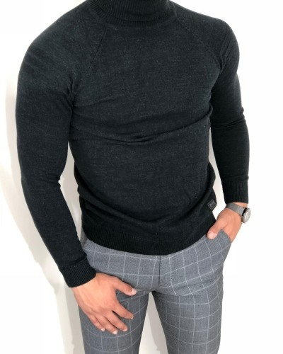 Black Turtleneck Sweater by Gentwith.com with Free Shipping