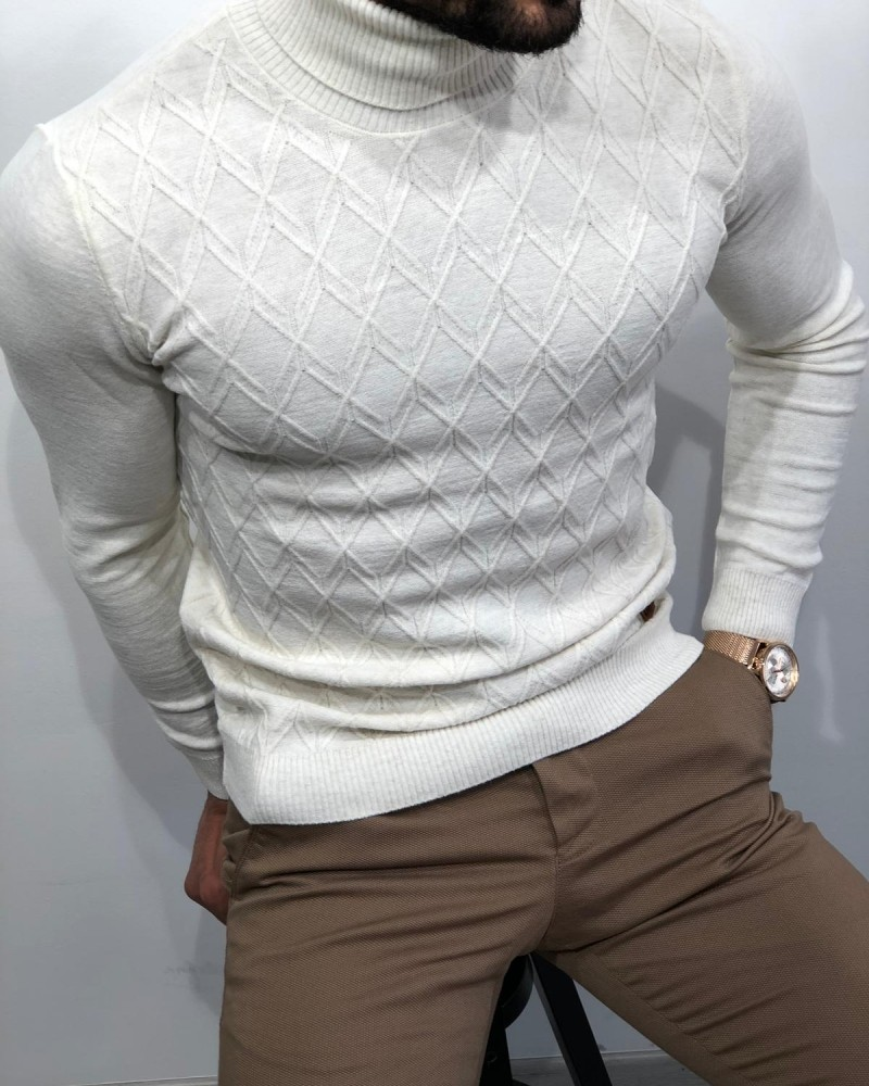 Ecru Slim Fit Turtleneck Sweater by Gentwith.com with Free Shipping