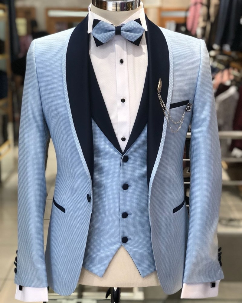 Blue Men's Tuxedo by Gentwith.com with Free Shipping