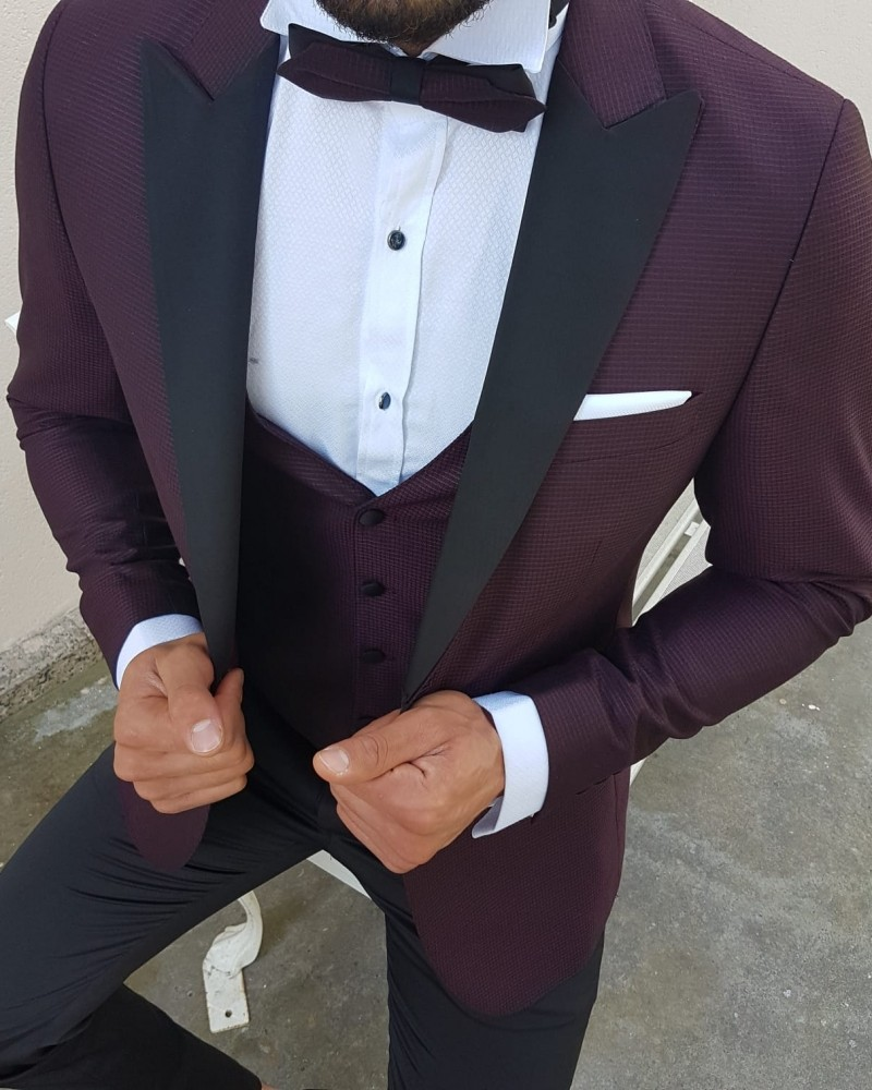 Claret Red Tuxedo by Gentwith.com with Free Shipping
