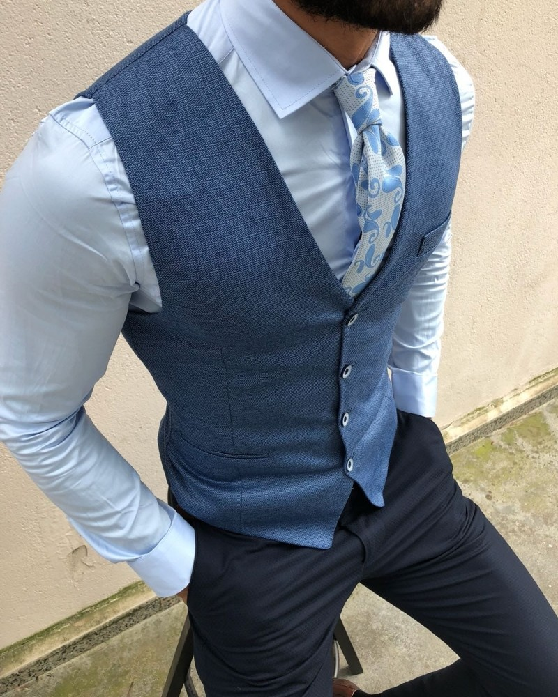 Blue Vest by Gentwith.com with Free Shipping