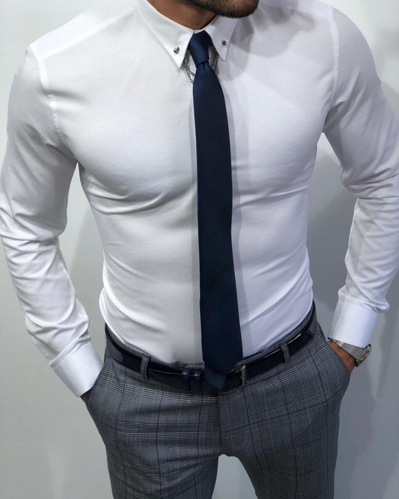 White Slim Fit Chain Collar Shirt by Gentwith.com with Free Shipping