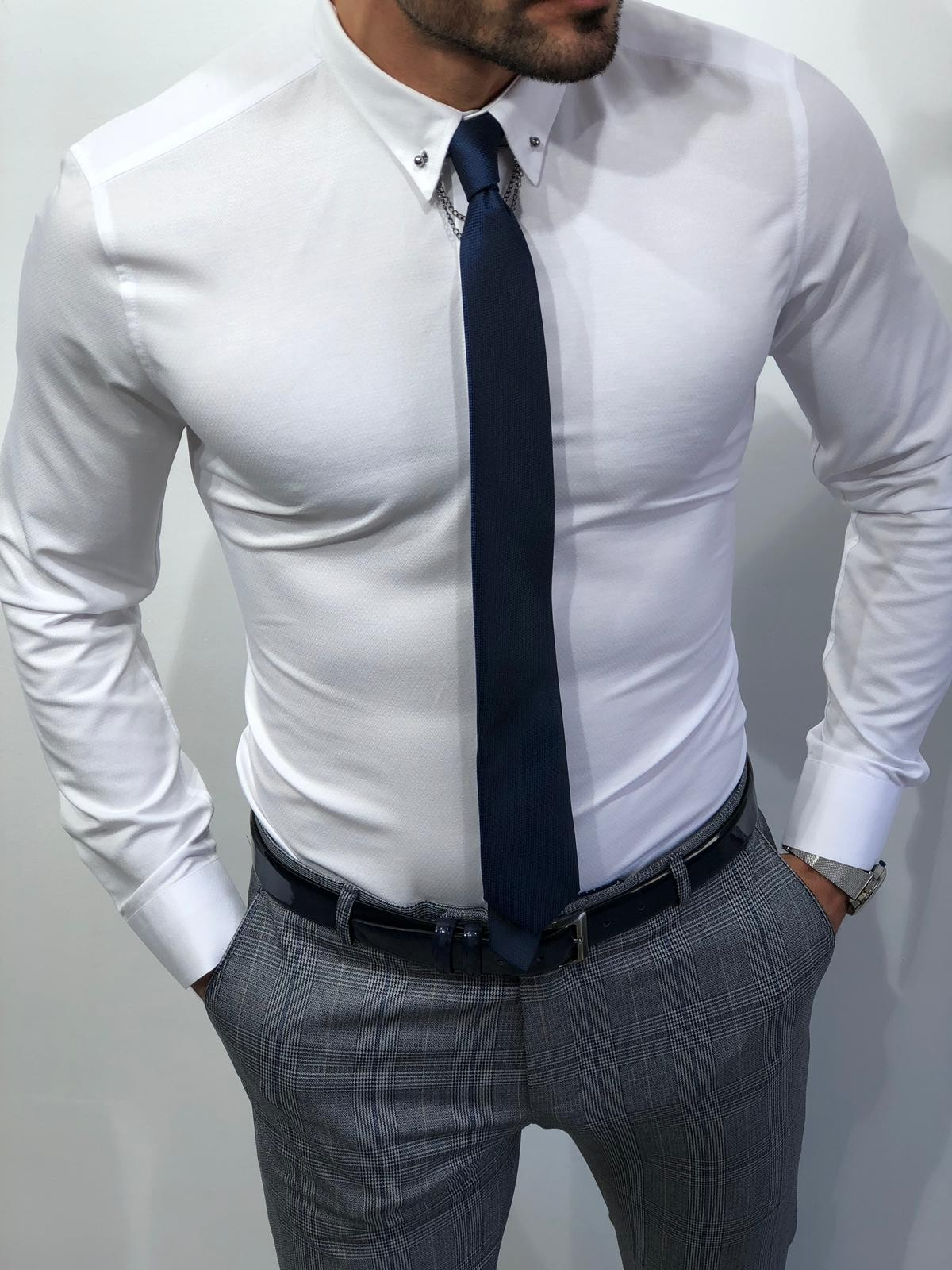 Buy Chain Collar Slim Fit Shirt White By Gentwithcom With