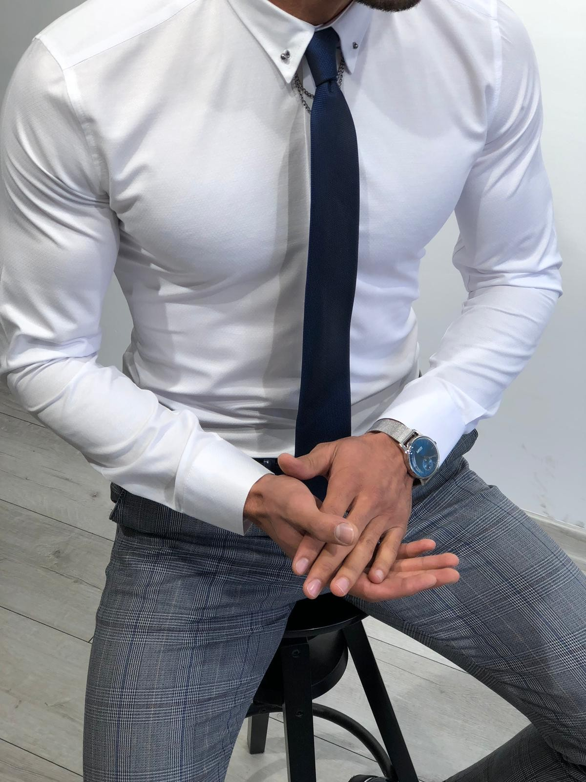 6355db46c34b Buy Chain Collar Slim Fit Shirt White by Gentwith.com with Free Shipping