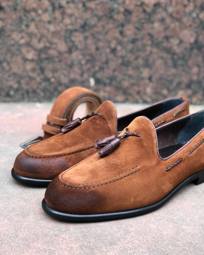 Tan Suede Tassel Loafer by Gentwith.com with Free Shipping