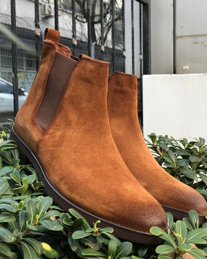 Tan Suede Chelsea Boot by Gentwith.com with Free Shipping