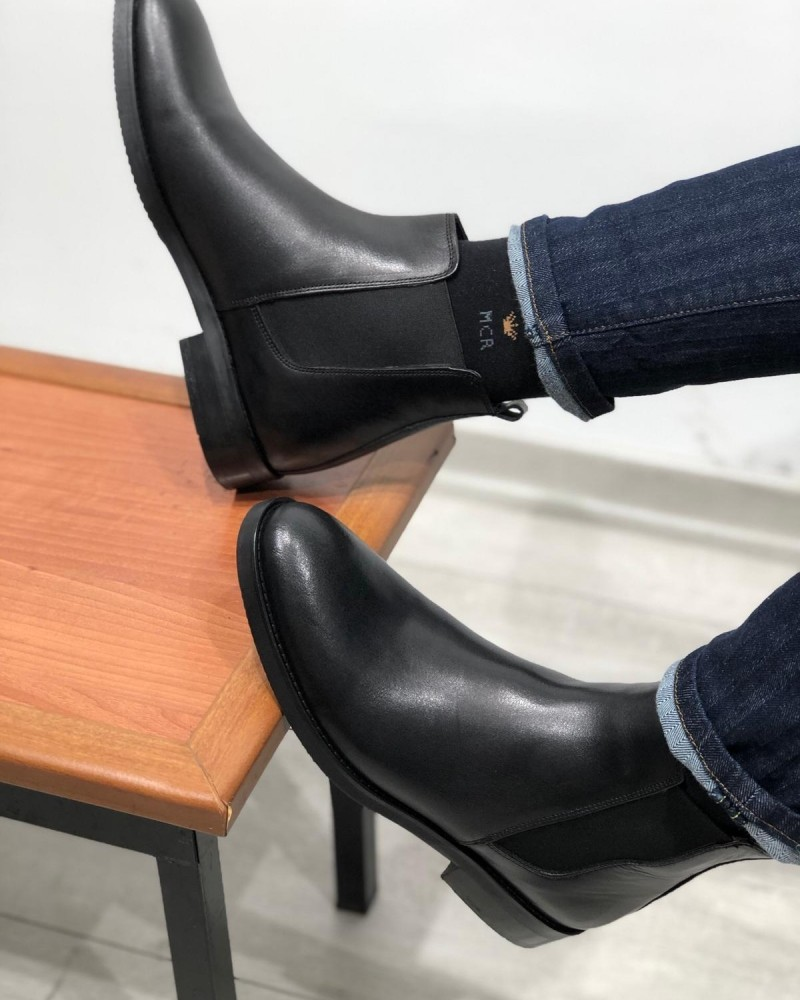 Black Chelsea boot by Gentwith.com with Free Shipping