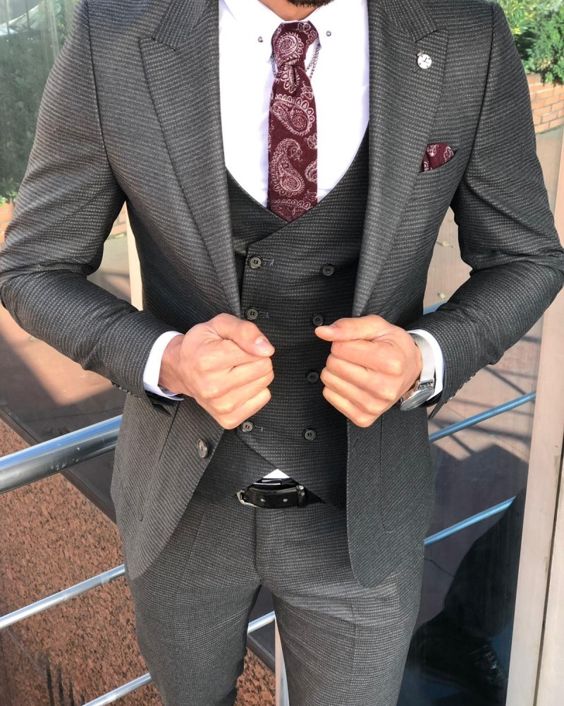 Anthracite Slim Fit Patterned Suit by Gentwith.com with Free Shipping