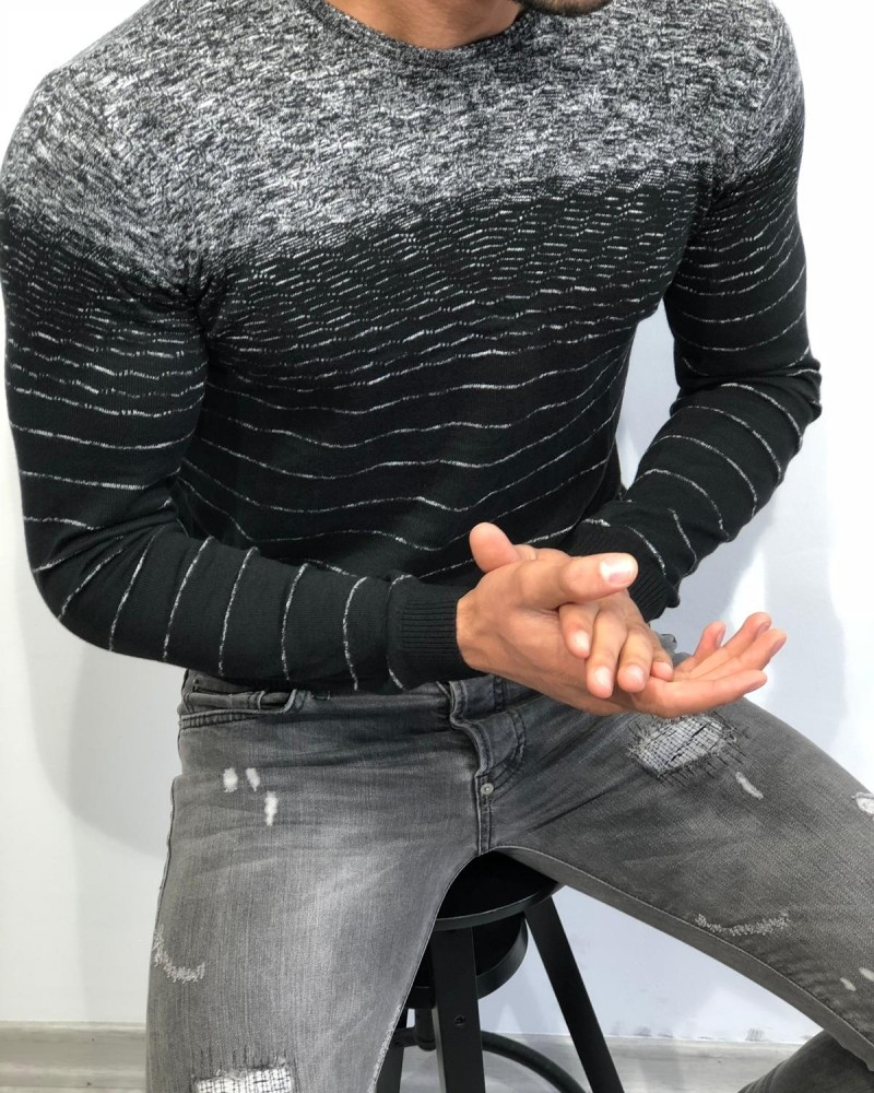 Men's Black Slim Fit Sweater by Gentwith.com with Free Shipping
