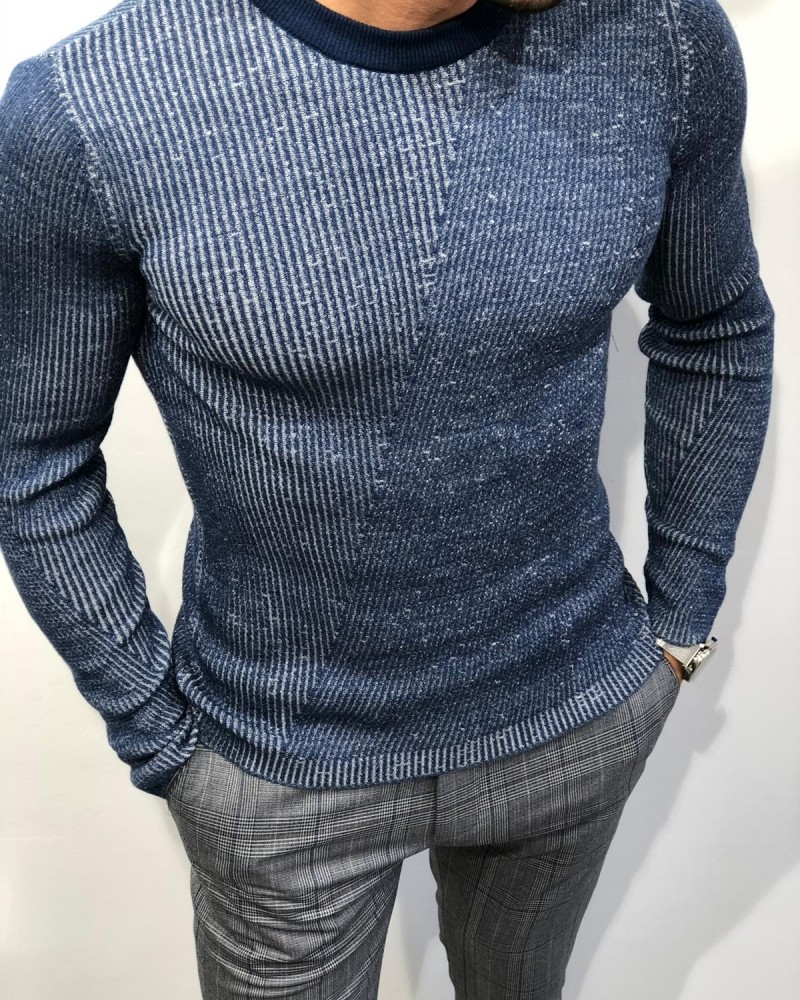 Blue Slim Fit Sweater by Gentwith.com with Free Shipping
