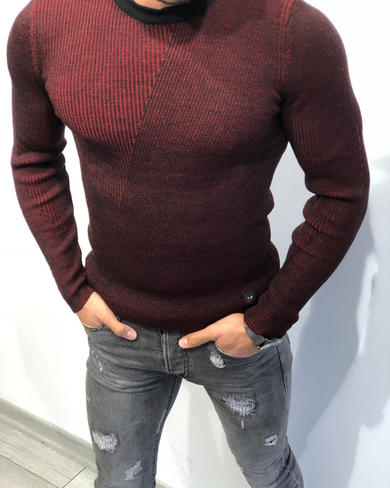 Claret Red Slim Fit Sweater by Gentwith.com with Free Shipping