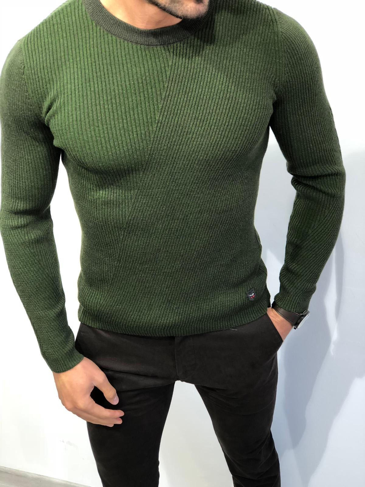 Buy Green Slim Fit Sweater by with Free Shipping