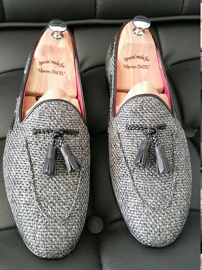 Gray Handmade Calf Leather Bespoke Shoes by Gentwith.com with Free Shipping