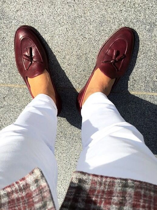 Claret Red Handmade Calf Leather Bespoke Shoes by Gentwith.com with Free Shipping